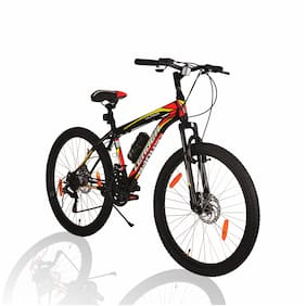 Leader Ultima 26T Multispeed Gear Cycle with Front Suspension & Dual Disc Brake (Matt Black/Red )Ideal for 10+ Years