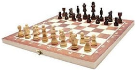 Leosportz classic Folding with lock check and mate wooden chess - 14 inch 3 cm Board Game