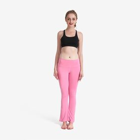 Lesubuy Solid Pink Wide Waistband High Waisted Dance Flare Bootcut Leggings Pants For Women/Girls