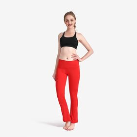 Lesubuy Solid Red Wide Waistband High Waisted Dance Flare Bootcut Leggings Pants For Women/Girls