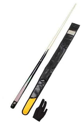 LGB Billiard Snooker & Pool Quarter Black Bridge Cue with One Piece Leather Cue Cover and Glove