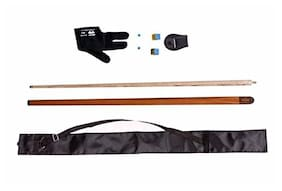 LGB Combo of Handmade Half Normal Joint Glossy Snooker N Pool CUE with CUE Cover;Glove;Chalk Holder;Two TIP N Two Chalk