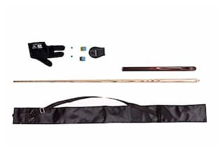 LGB Combo of PERADON Quater VACCUM Joint Glossy Finish Snooker N Billiards CUE with CUE Cover;Glove;Chalk Holder;Two TIP N Two Chalk