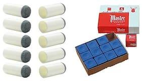 LGB Combo of Master Blue Chalk 12 pcs & Slip on tip 9mm (10 PCS)