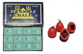 LGB Pool and Snooker Green Chalk (10 Pieces) & Rubber Chalk Holder (4 Pieces)