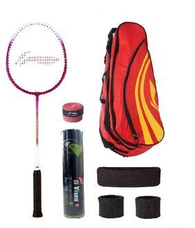 Li-Ning Combo of XP-708 Badminton Racquet (2 Pcs.), Kit Bag, Grips & 2 Other Items