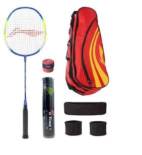 Li-Ning Combo of Q50 Badminton Racquet, Kit Bag, Grip & 3 Other Items