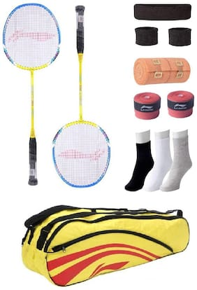 Li-Ning Combo of XP-60 Badminton Racquet (2 Pcs.), Kit Bag, Grip & 4 Other items