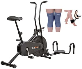 Lifeline 102 Exercise Cycle With Twister And Pushup Bar  | Bonus Weight Cuff (1 kg) And Soft Knee Support