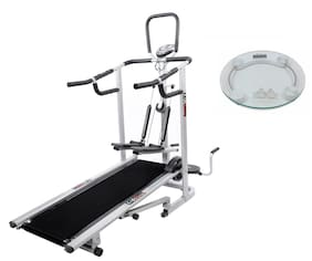 Lifeline 4 in 1 Deluxe Treadmill Machine for Home Use| Bonus Weighing Machine