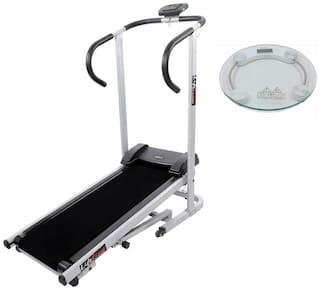 Lifeline Exercise Machine Manual jogger Treadmill  | Bonus Weighing Machine