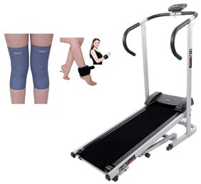 Lifeline Manual jogger Treadmill  | Bonus Weight Cuff (1 kg)  And Soft Knee Support