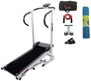 Lifeline Manual jogger Treadmill  | Tummy Trimmer , Gym Bag , Skipping Rope , Sweat Belt And Yoga Mat (6mm)