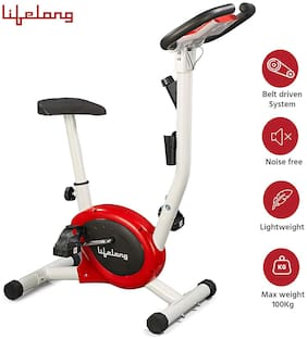 Lifelong LLF108 FitPro Stationary Exercise Belt Bike for Weight Loss at Home with Display and Resistance Control, White (Free Home Installation)