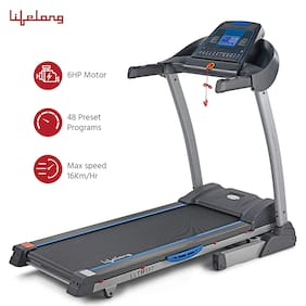 Lifelong LLTM117 6HP FitPro Treadmill with 16 Level Auto Incline, 48 Preset Programs, Heart Rate Sensor, Mp3 and Max Speed 16Km/hr for Home Workouts (Free Installation Assistance)
