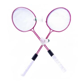 Light Weight Tempered Steel Body Badminton Racquet Pair with Double Rod & Shuttle Pink Colour
