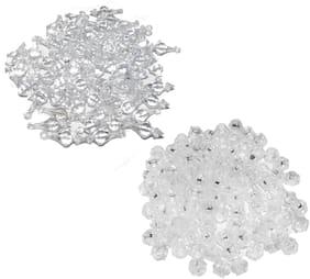 Macrame Crystal Hanging Bells/Macrame Latkan, with Crystal Beads (Jhula, Toran, Jhumar, Pot and Wall Hangings) Mix Set of 2 Colour (50 x 2 Colour = 100 Qty)