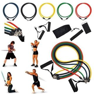 Magideal 11pcs Resistance Bands Tube Set for Fitness Exercise Yoga Pilates Workout
