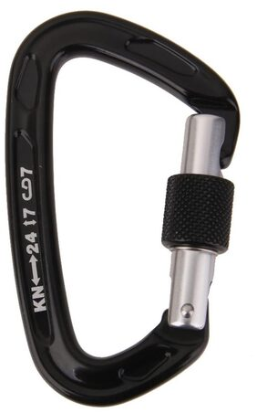 Magideal 24KN Screw Locking Mountaineering Climbing Aluminum Carabiner - Black