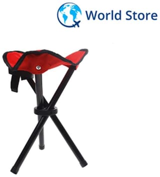Magideal Portable Camping Fishing Travel Tripod Folding Seat Stool Chair - Red