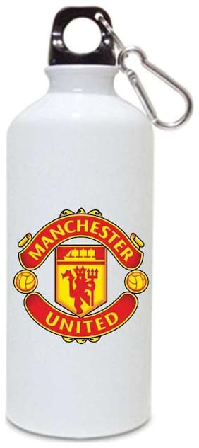 Manchester-united  Printed Sports White Sipper / Water Bottle ( Aluminium ) 750ml By Juvixbuy