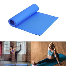 Marketon 4mm Yoga Mat for Workout Gym and Fitness with Body Eco Friendly Non Slip Thick Yoga Mats (1Pc) Blue
