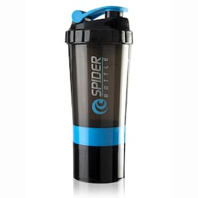 Marketon Protein Shaker Bottle 500ml with 2 Storage Extra Compartment 100% Leakproof Ideal for Protein (Assorted)  1pc