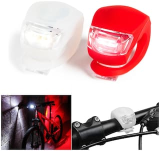 MARKETON Ultra Bright Led Lights Front & Back Rear Lights Set Push Cycle Clip Lights for Motocycles & Mountain Bikes (Assorted Color) 2 pcs