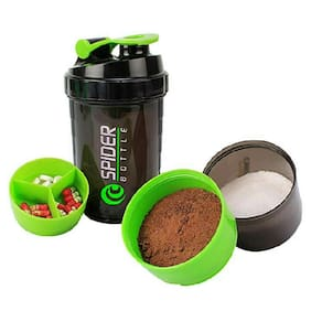 Marketwala Protein Shaker 500ml with 2 Storage Extra Compartment for Gym Hiking and Cycling (Assorted) Pack of 1