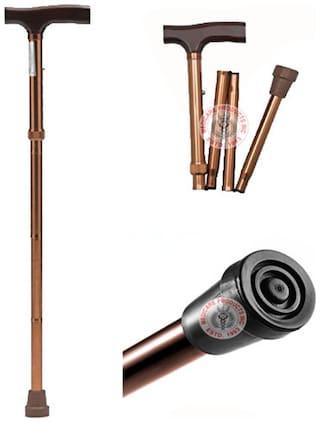 MCP Jindal Folding Walking Stick Height Adjustable (Brown)