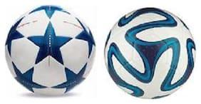 MDN Brazuca Blue Football + Bluestar UEFA Champions League Football (Size-5) - Pack of 2 Footballs
