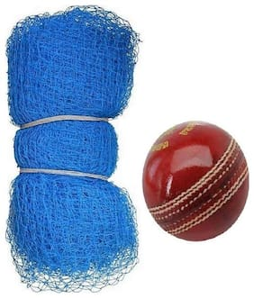 Mdn Cricket Nylon Practic 20ft X 10ft Net With 1 Leather Ball (Blue)