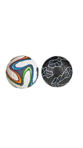MDN Multicolor Brazuca Football + Messi Black Football (Size-5) - Pack of 2 Footballs