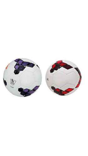 MDN Premier League Purple/White + Premier League Red/Purple PVC Football (Size-5) Pack of 2 Footballs