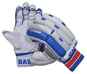 Men's Player Batting Gloves (White, Blue and Red, RH)