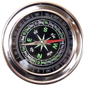 Metal Military Magnetic Compass (Pack of 1) Silver Color