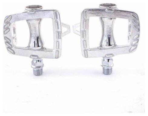 New MKS GR-9 Platform Road Pedals 9//16 Toe Clip Compatible Alloy Silver