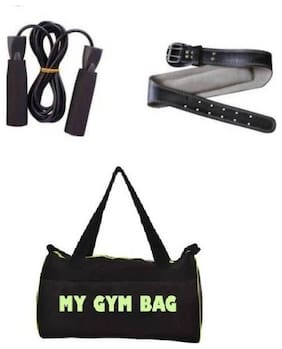 Monika Sports Home Gym Accessories Gym Bag With Foam Skipping Rope, Hand Grip,Gym Belt And Gym Gloves