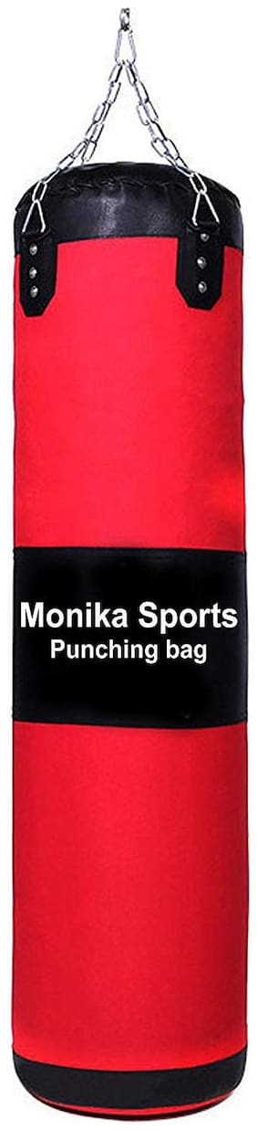 Monika Sports Pure Red Unfilled Synthetic Leather Punching Bag With Chain (5Ft)