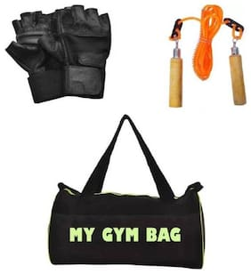 Monika Sports Home Gym Accessories Gym Bag With Skipping Rope And Gym Gloves