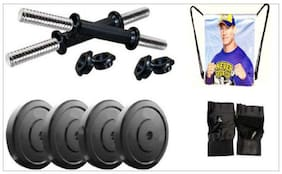Monika Sports 4 Plates Of 2 kg Each With Dumbell Rods + 1 String Bag+ 1 Pair Of Gym Gloves Gym & Fitness Kit
