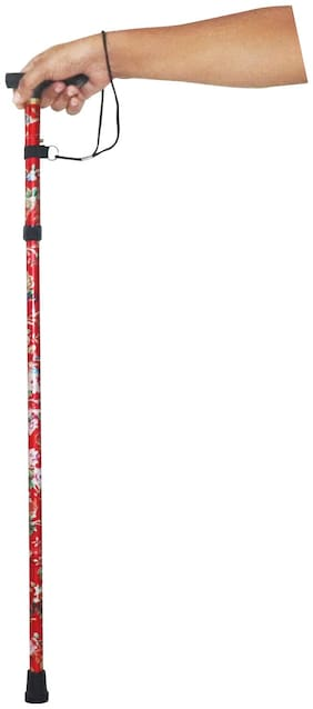 Mopi Imported Red Printed Folding stick 001 (Walking Stick)