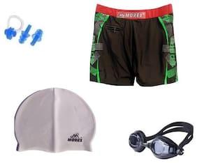 Morex Swimming Cap, Googles, Trunks (Size-XL), Ear plug & Nose plug CB-102