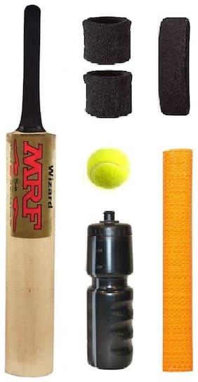 MRF Gold Sticker Popular Willow Cricket Bat (For Tennis Ball) Full Size Combo (Kit of 7 Items)