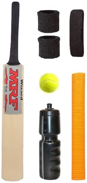 MRF Silver Sticker Popular Willow Cricket Bat (For Tennis Ball) Size-6 Combo (Kit of 7 Items)