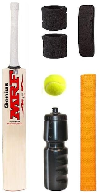 MRF Transparent Sticker Popular Willow Cricket Bat (For Tennis Ball) Size-4 Combo (Kit of 7 Items)
