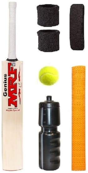 MRF Transparent Sticker Poplar/Popular Willow Cricket Bat (For Tennis Ball) Size-6 Combo (Kit of 7 Items)