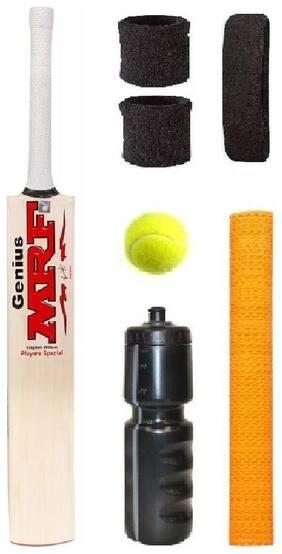 MRF Transparent Sticker Poplar/Popular Willow Cricket Bat (For Tennis Ball) Size-5 Combo (Kit of 7 Items)
