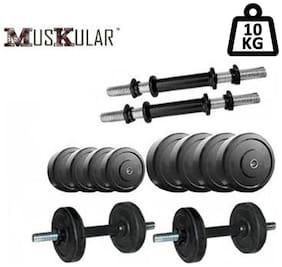 Muskular 10 kg Rubber Dumbells Sets;Rubber Plates + Dumbells Rods + Leather Gym Gloves