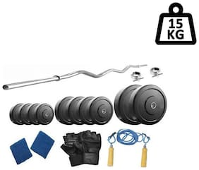 Muskular 15 kg with 3 feet curl rod Home gym package for Beginners